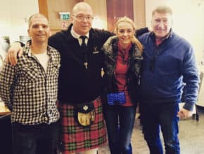 Denny with guests from Russia, at the visitor centre of Glenfiddich.
