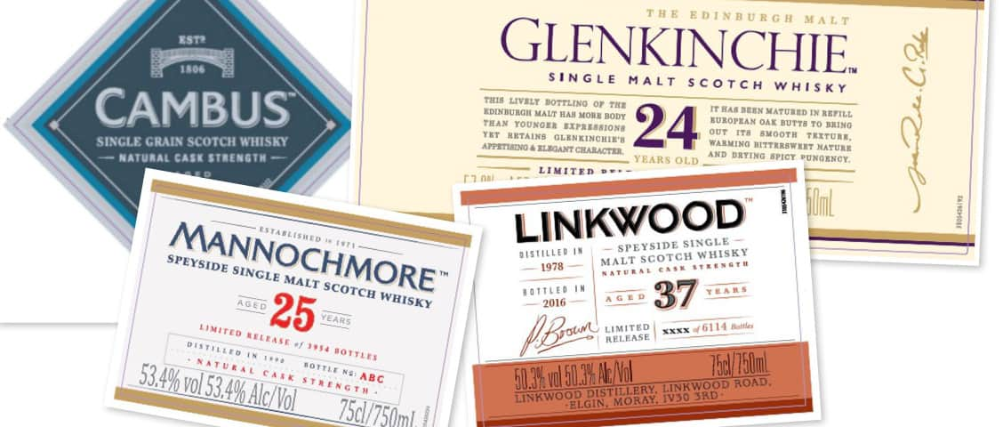 Diageo Special Releases 2016 Linkwood Mannochmore Cambus Glenkinchie